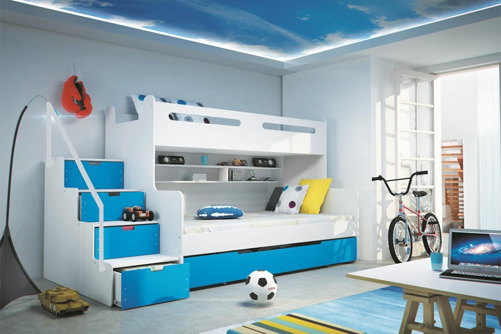 Dětská patrová postel Maty modrá