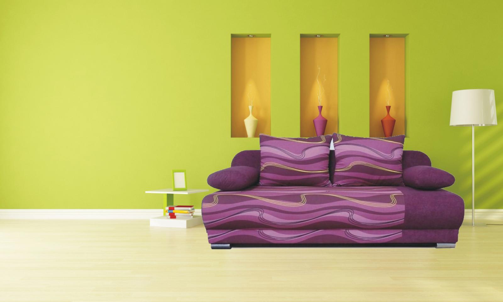 rozkládací pohovka Futon fialová vlnky