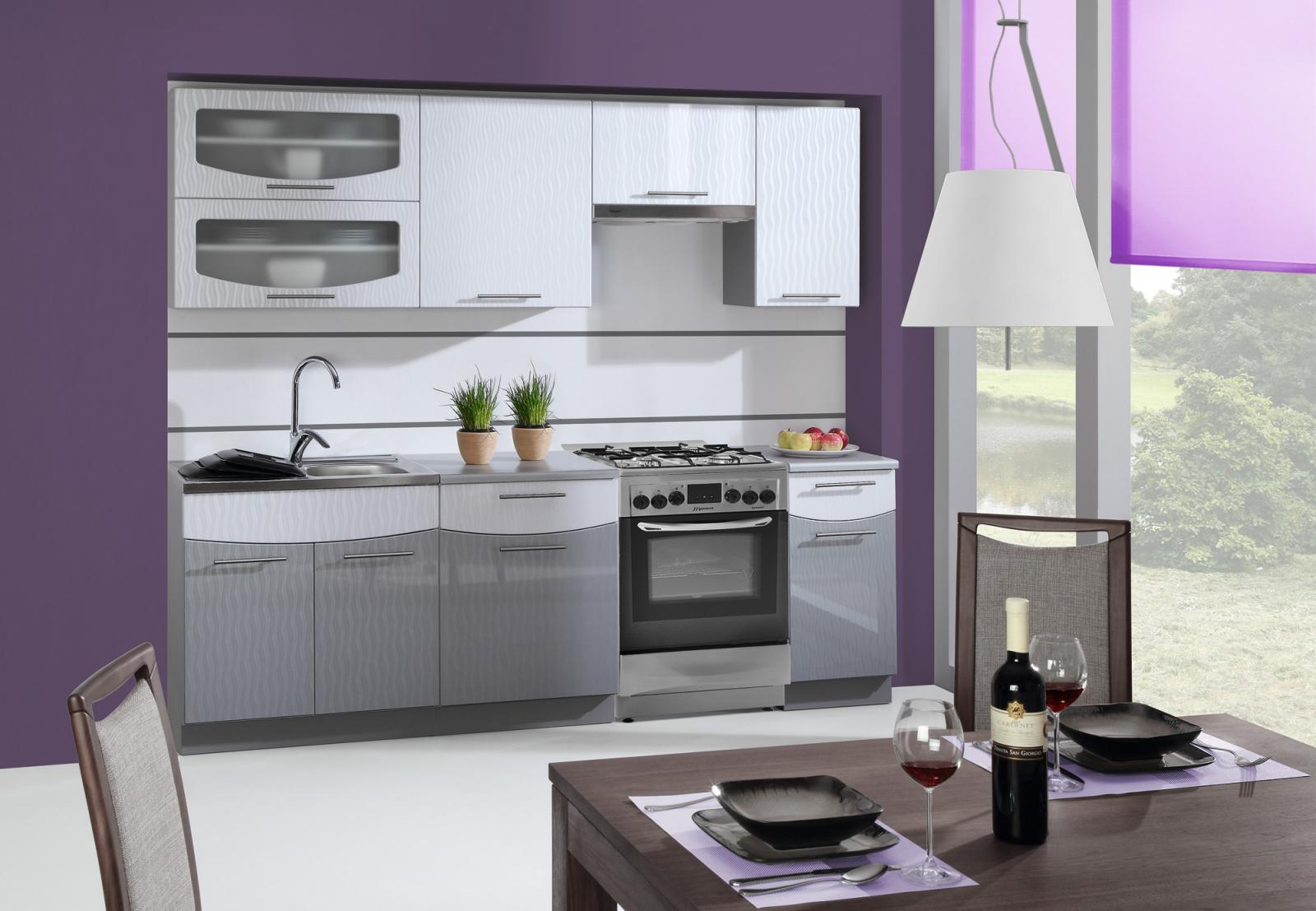 kuchyňská linka SMILE vlnky bílá/šedá