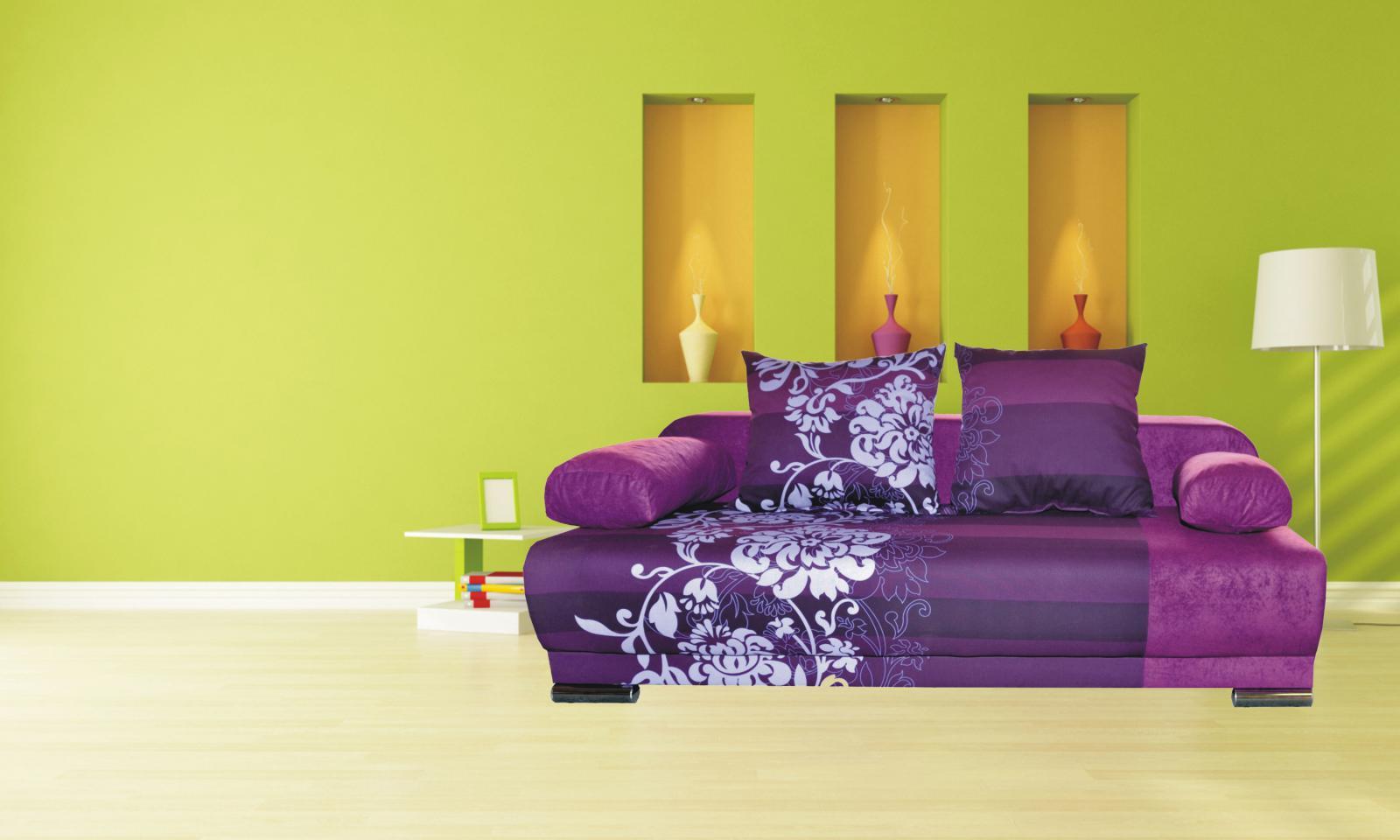 rozkládací pohovka Futon fialová květ