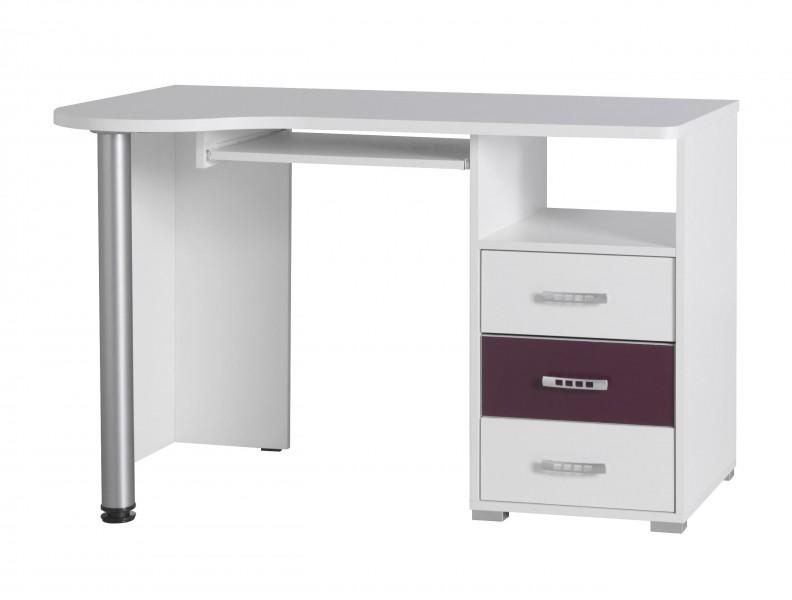 Psací stůl Neymar R11 bílá/fialový lesk