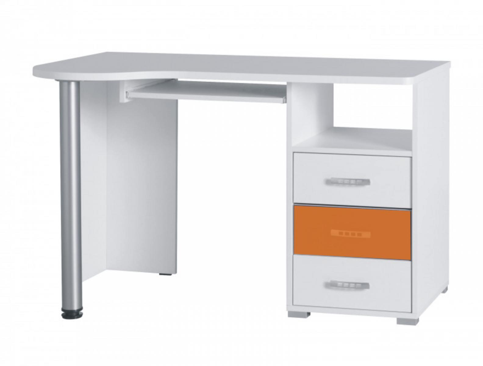 Psací stůl Neymar R11 bílá/oranžový lesk