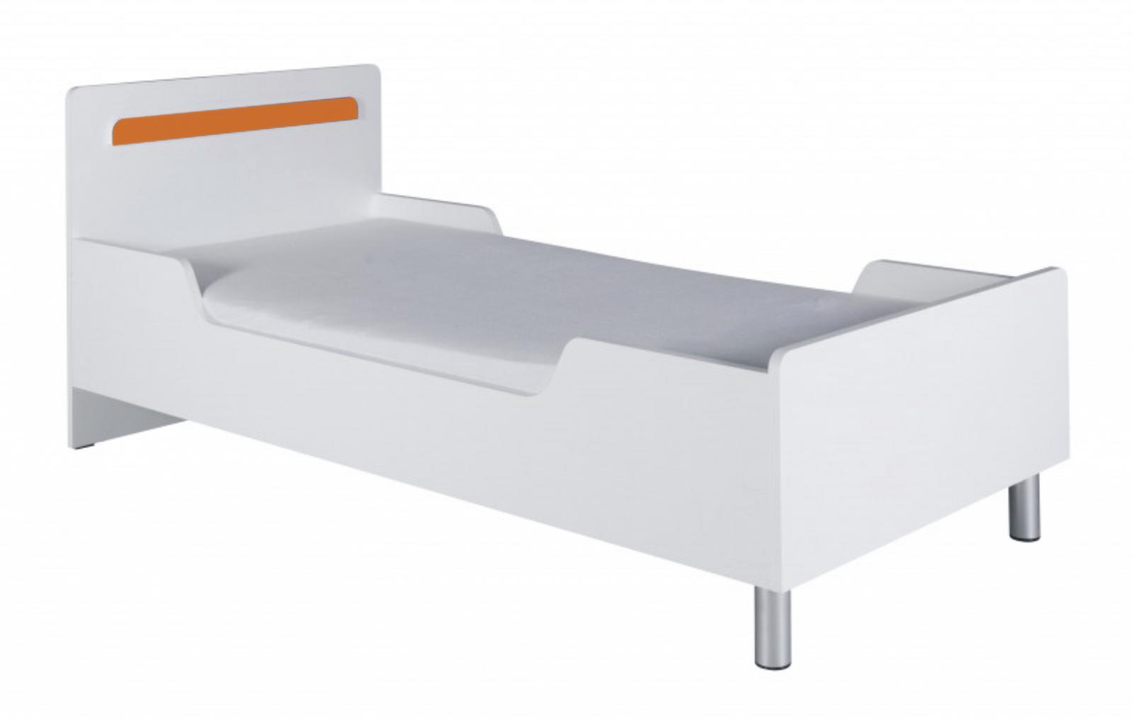 Postel s matrací Neymar R12 90x200 bílá/oranžový lesk