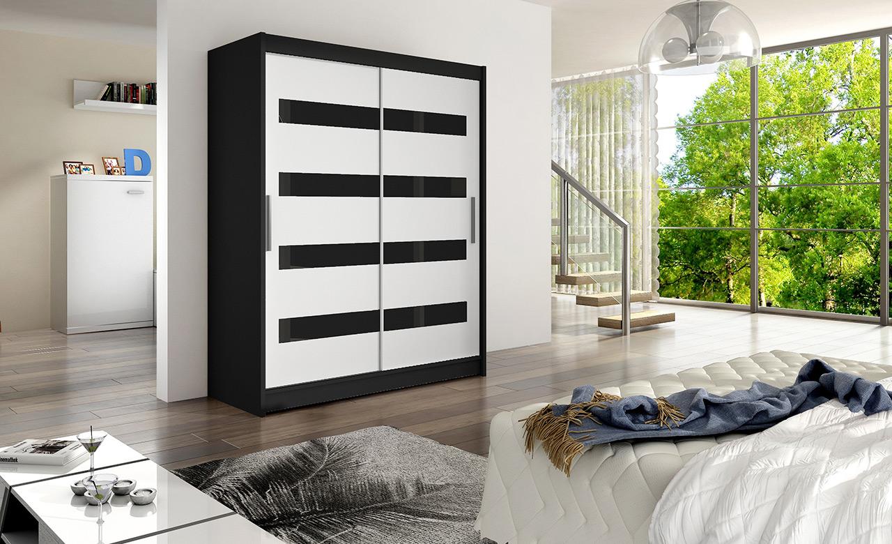 Skříň Wentura IV černá/bílá+černý pruh