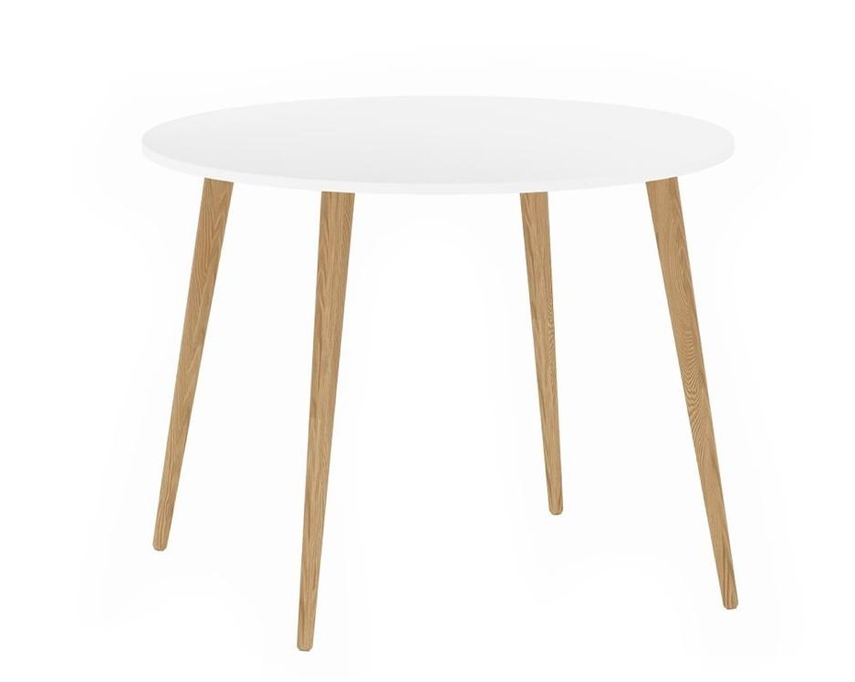Jídelní stůl Retro kulatý 386 bílá/dub
