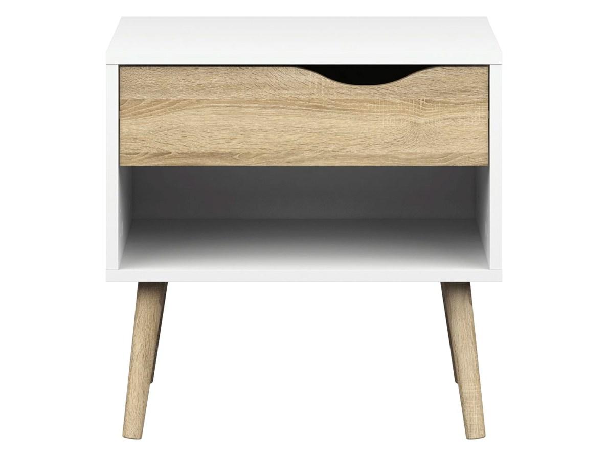 Noční stolek Retro 394 bílá/dub