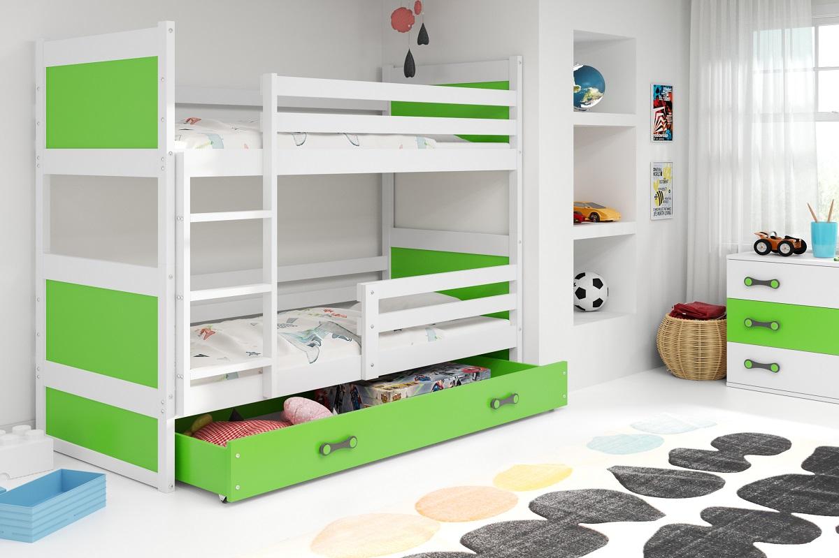 Patrová postel Riky bílá/zelená