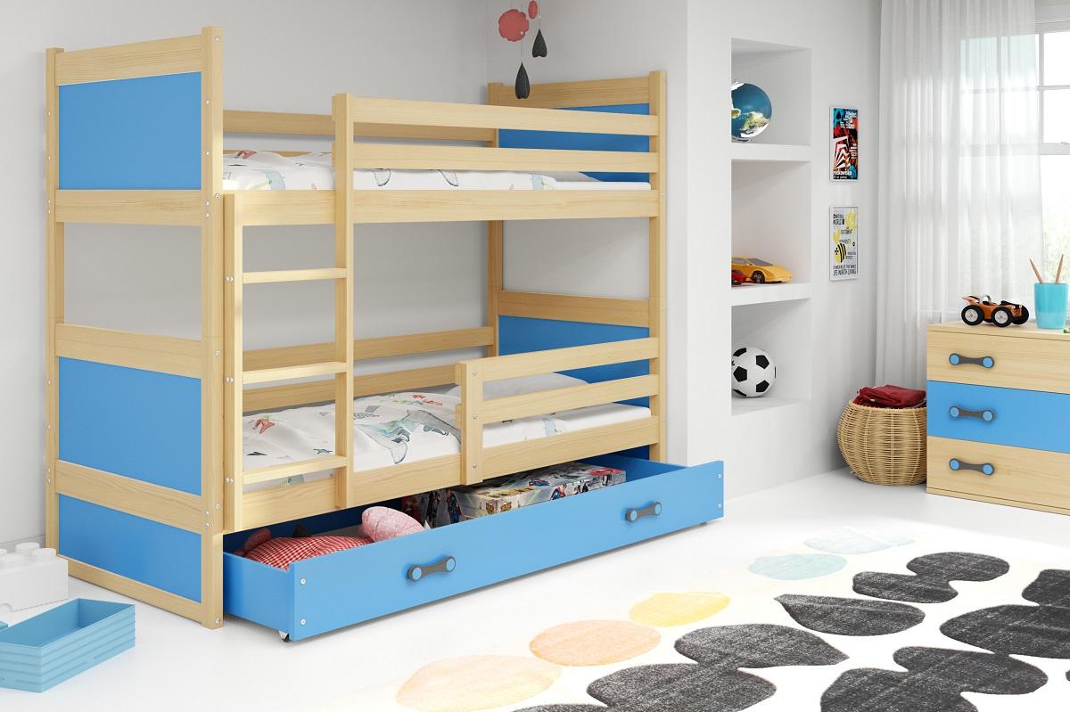 Patrová postel Riky borovice/modrá