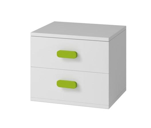 Moon 22 noční stolek bílá/zelené úchytky