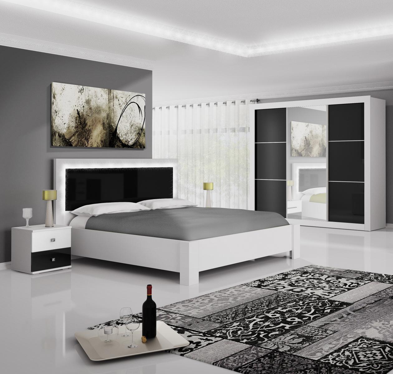 Ložnice Regina bílá/černý lesk