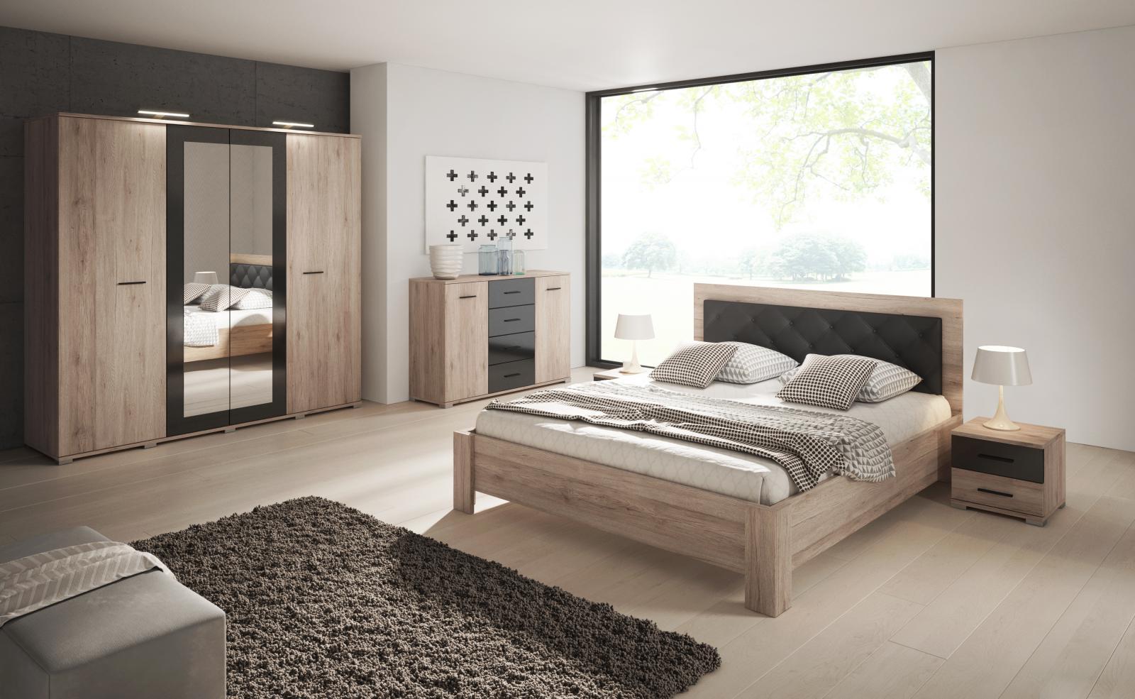 Ložnice Neapol San Remo sand/černý lesk