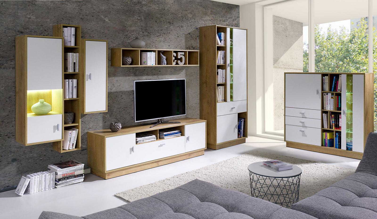 Obývací stěna Parker 1 dub lefkas/bílá