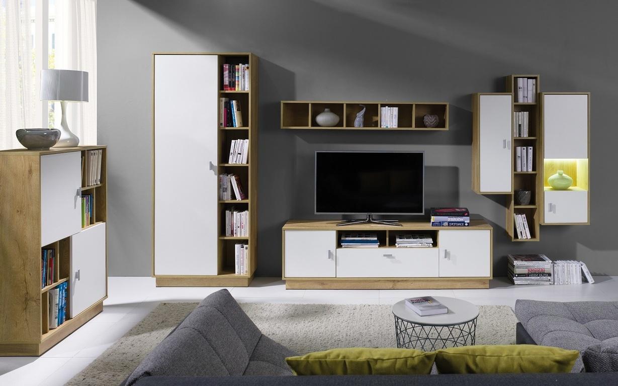 Obývací stěna Parker 3 dub lefkas/bílá