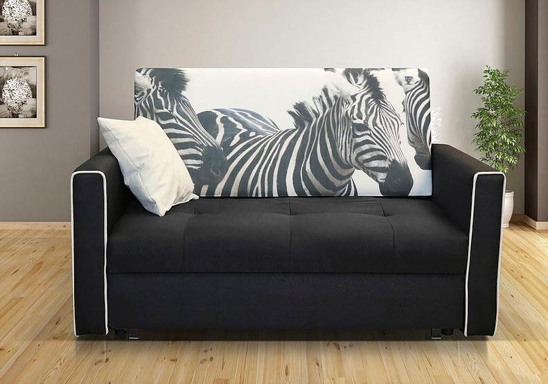 Rozkládací křeslo Vivian II černá/zebra