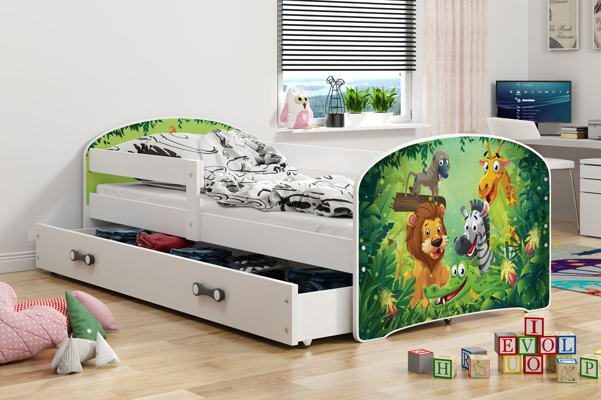 Postel Hubert 80x160 bílá/jungle