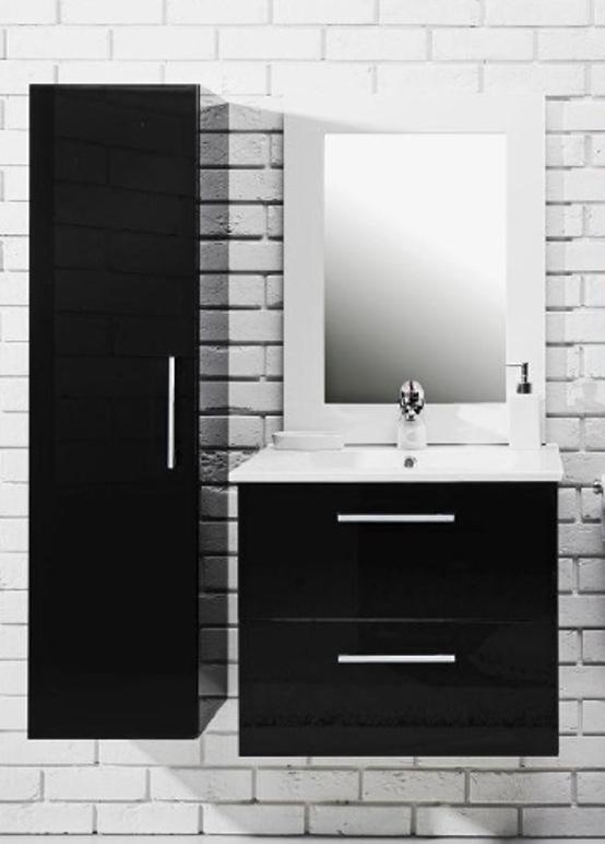 Koupelnová sestava s umyvadlem Metro 60 černý lesk
