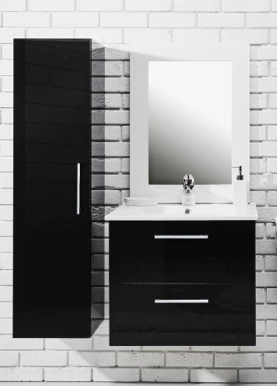 Koupelnová sestava s umyvadlem Metro 80 černý lesk
