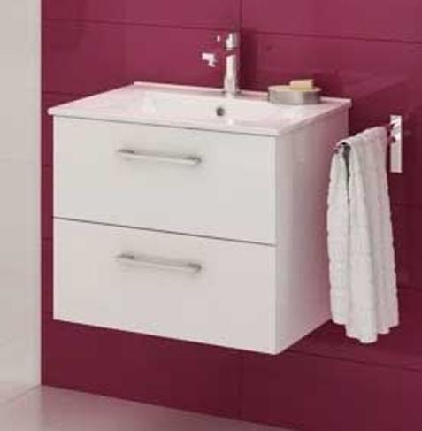 Koupelnová skříňka s umyvadlem Metro D80 bílý lesk