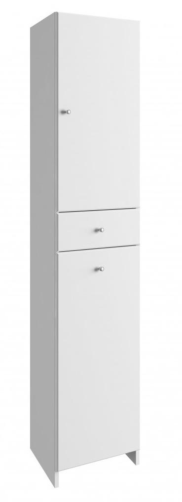 Vysoká koupelnová skříňka Tania C170 koš bílý lesk