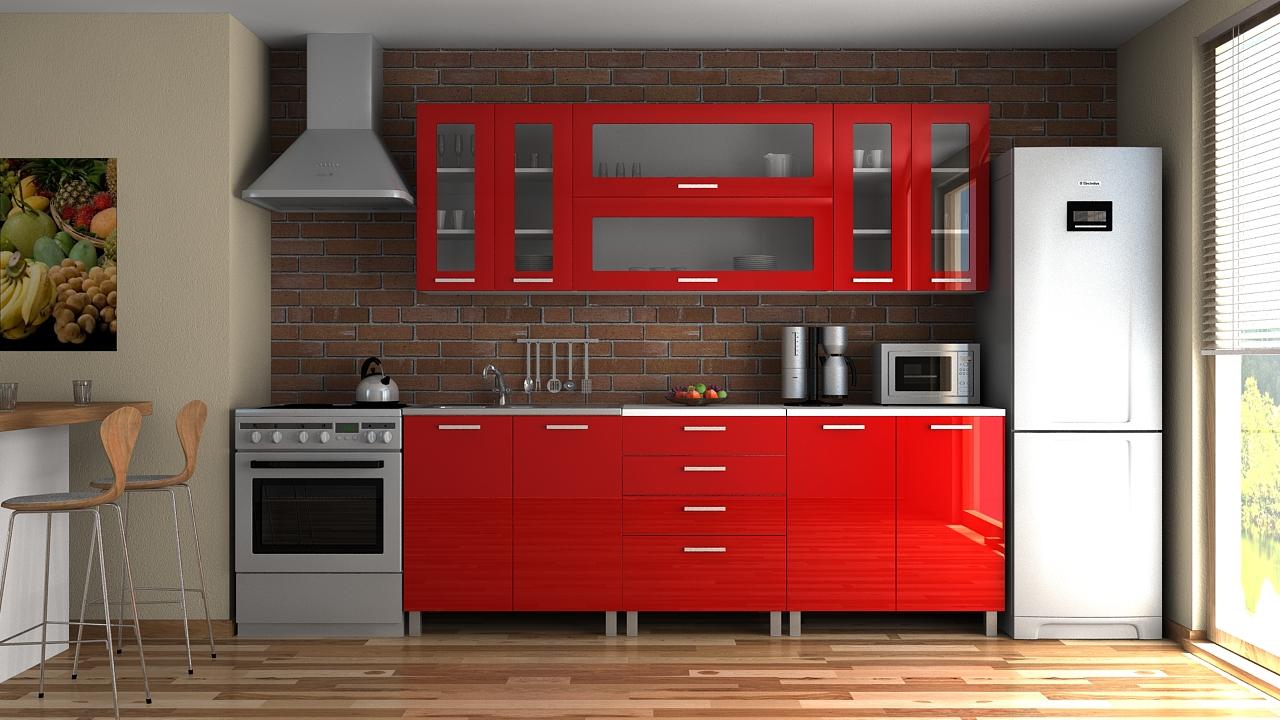 Kuchyňská linka Eginger RLG 220 červený lesk