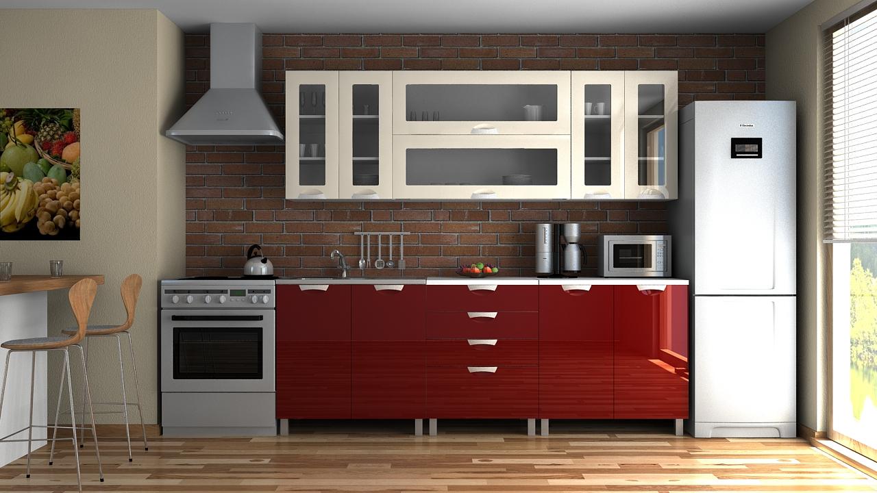 Kuchyňská linka Eginger MDR 220 jasmín/bordo lesk