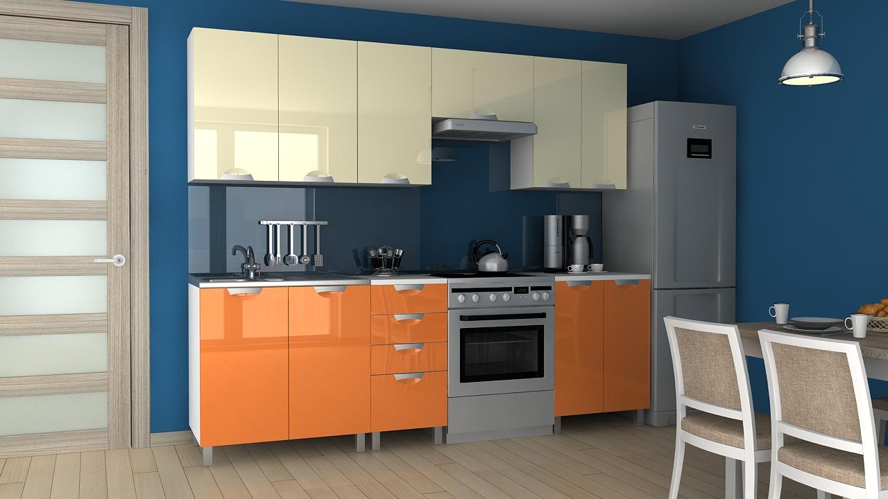 Kuchyňská linka Korry MDR 180/240 vanilka/oranžový lesk