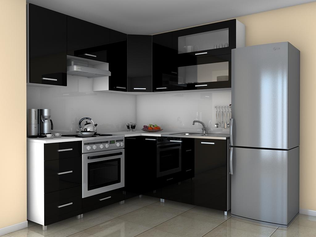 Rohová kuchyňská linka Grepolis RLG černý lesk