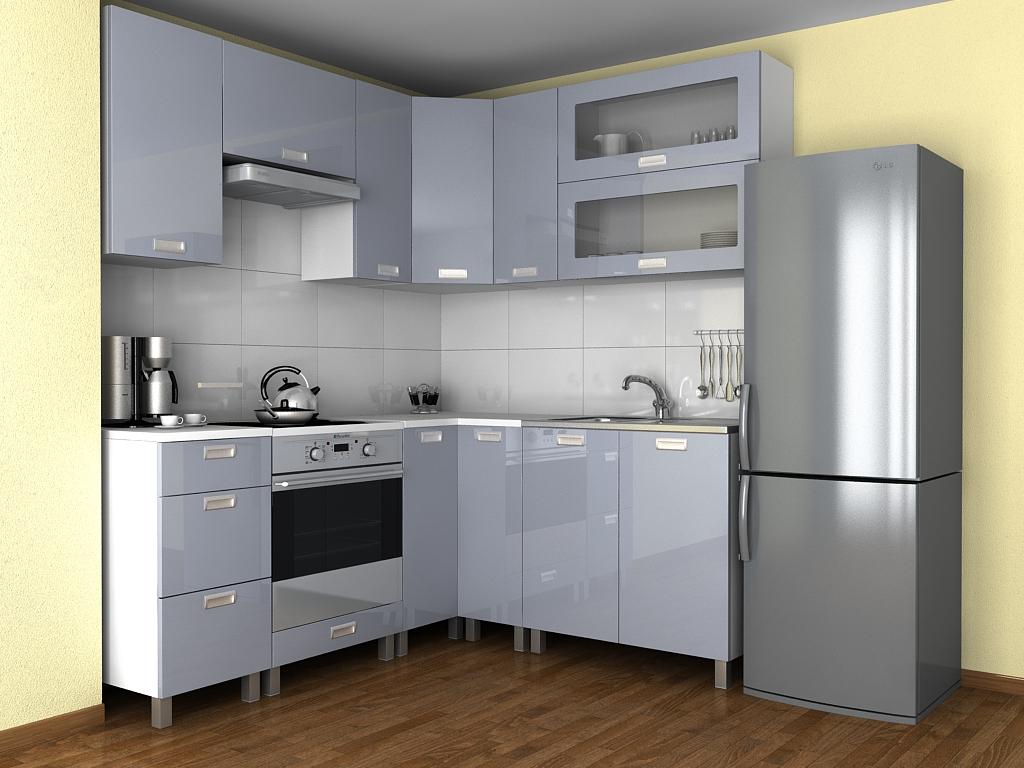 Rohová kuchyňská linka Grepolis KRF šedý lesk