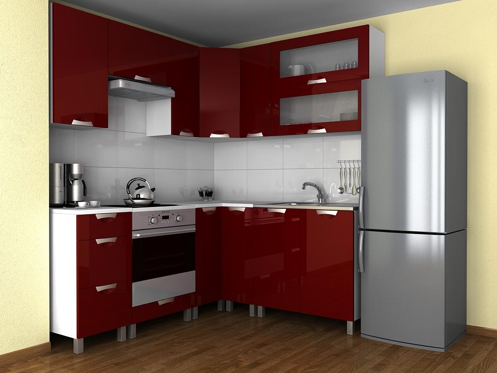 Rohová kuchyňská linka Grepolis KRF bordo lesk