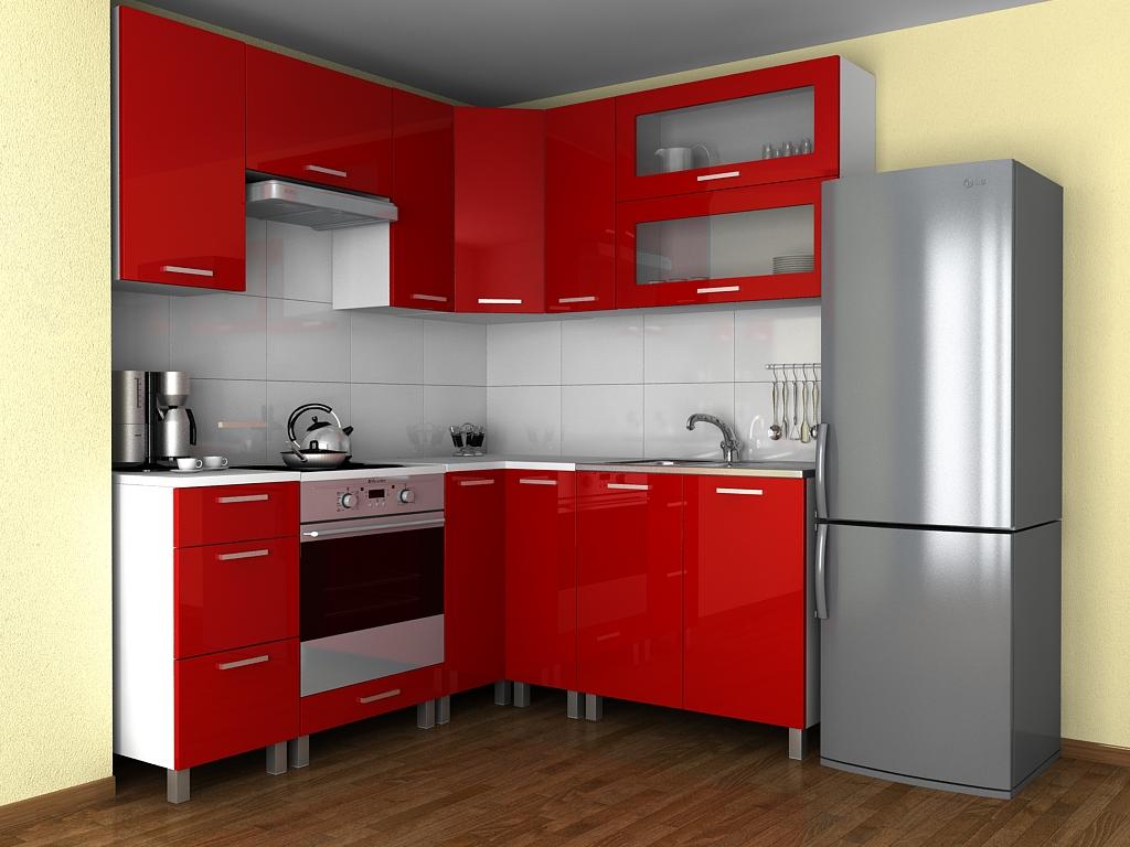 Rohová kuchyňská linka Grepolis MDR červený lesk