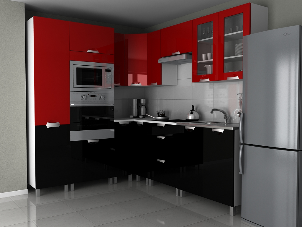 Rohová kuchyňská linka Milenium KRF červený/černý lesk