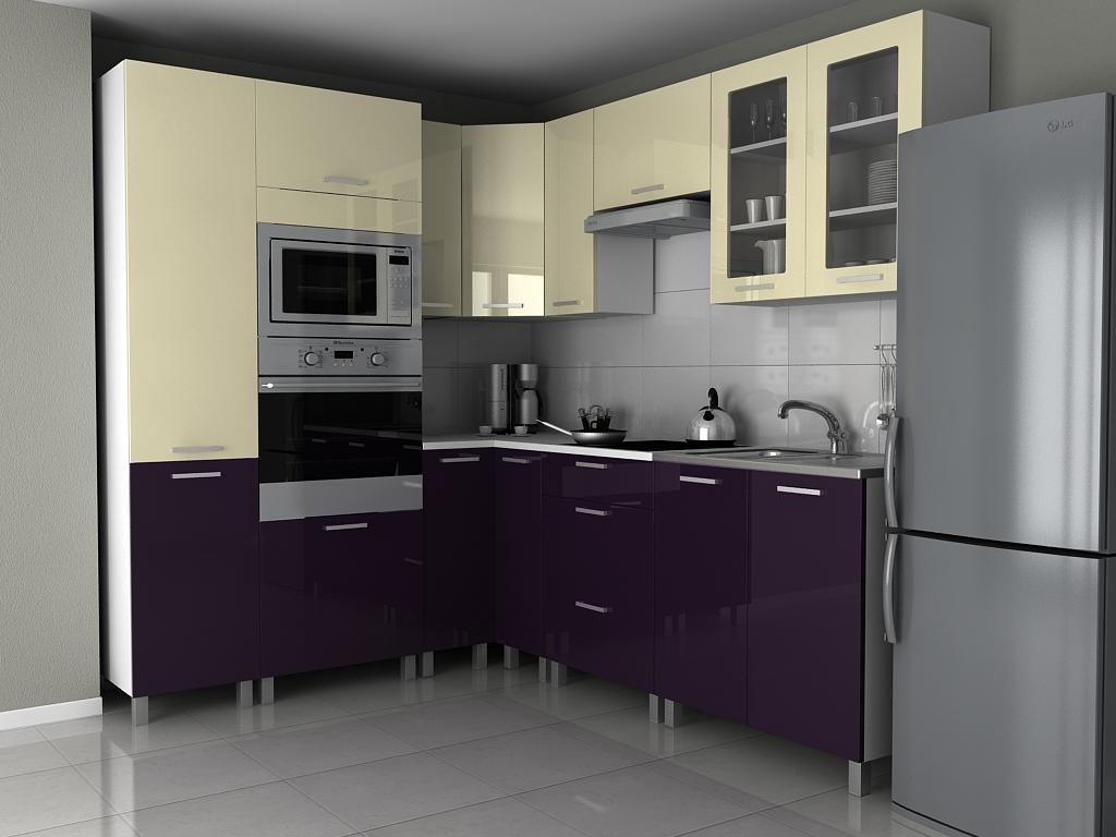 Rohová kuchyňská linka Milenium KRF vanilka/fialový lesk