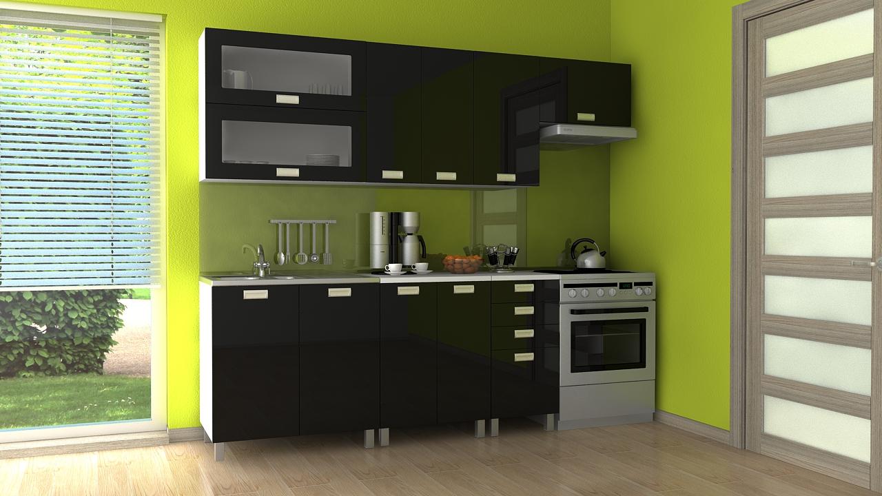 Kuchyňská linka Nadine RLG 180/240 černý lesk