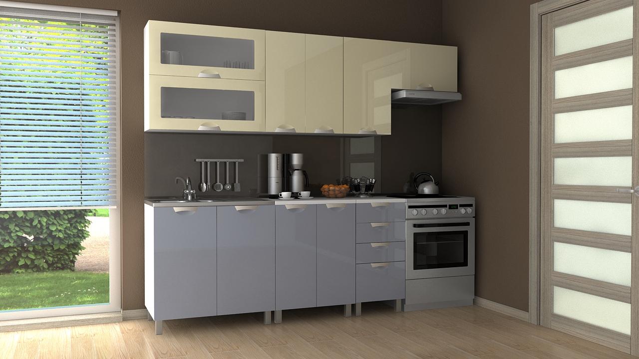 Kuchyňská linka Nadine MDR 180/240 vanilka/šedý lesk