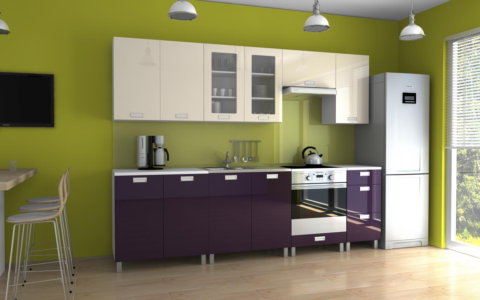 Kuchyňská linka Parkour MDR 260 jasmín/fialový lesk