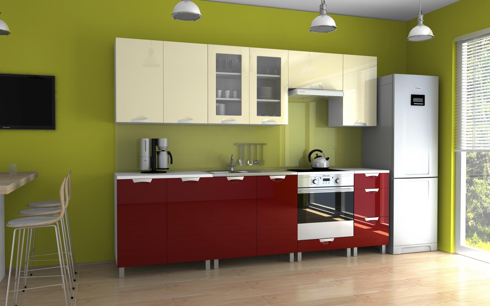 Kuchyňská linka Parkour MDR 260 vanilka/bordo lesk