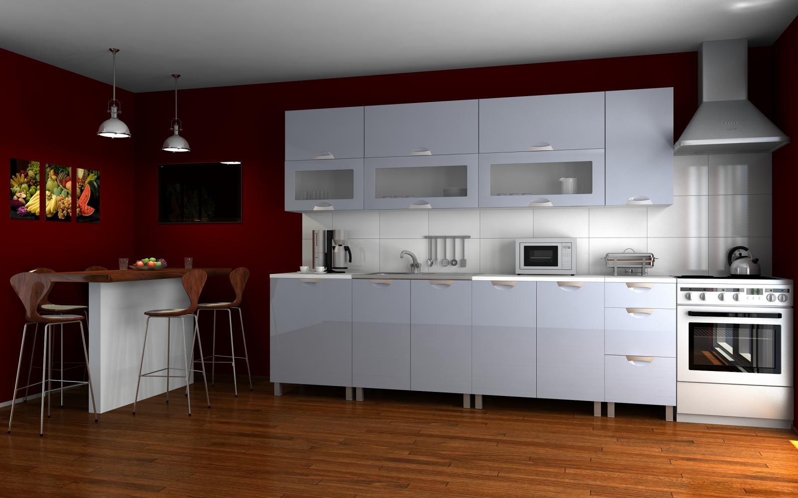 Kuchyňská linka Saleri RLG 260 šedý lesk