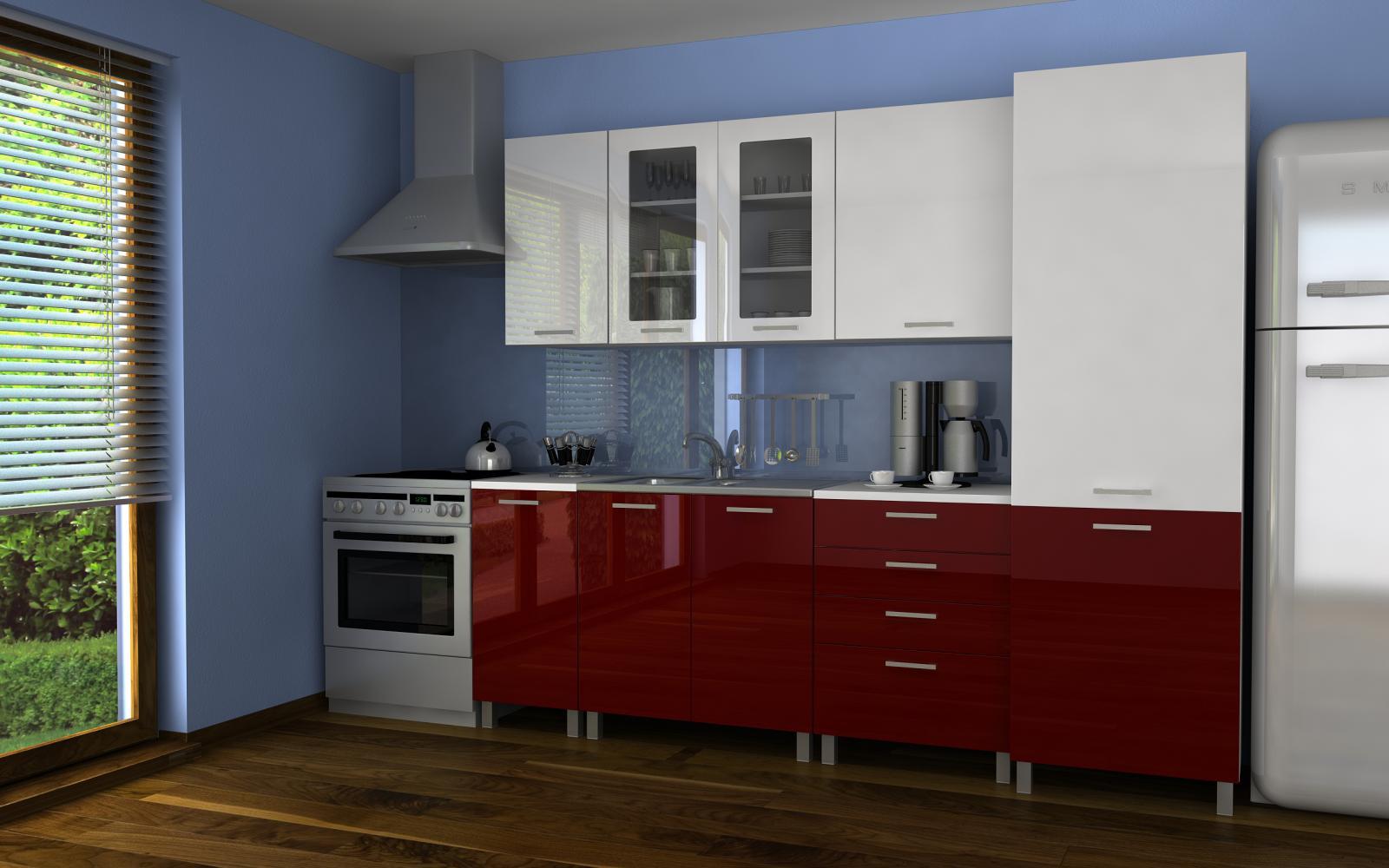 Kuchyňská linka Simeon RLG 240 bílá/bordo lesk