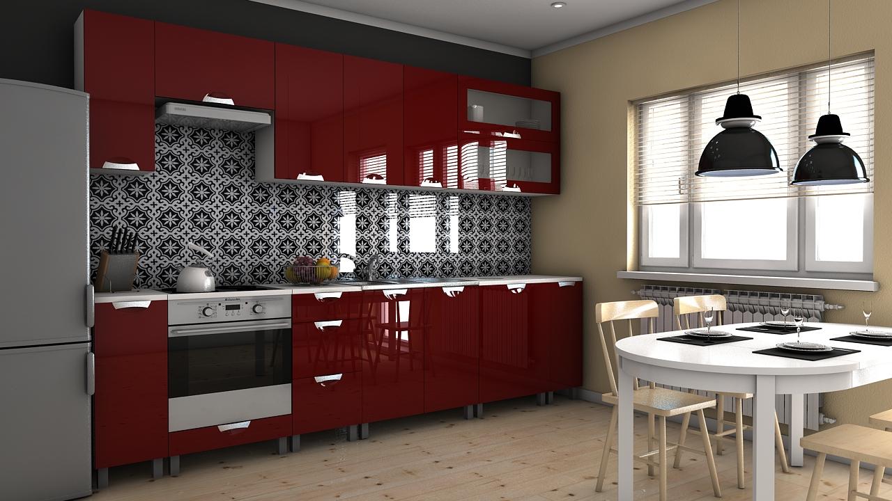 Kuchyňská linka Biodera MDR 300 bordo lesk