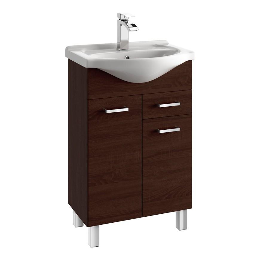 Koupelnová skříňka s umyvadlem Mea D50 2D1S dub chocolate