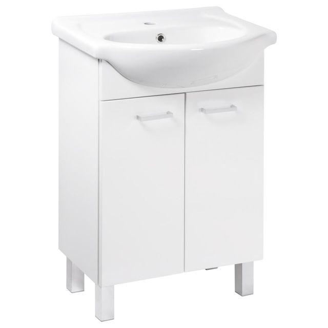 Koupelnová skříňka s umyvadlem Mea D55 2D0S bílý lesk