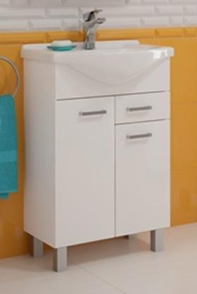 Koupelnová skříňka s umyvadlem Mea D55 2D1S bílý lesk
