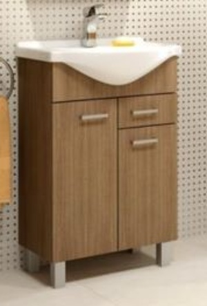 Koupelnová skříňka s umyvadlem Mea D55 2D1S dub rijeka