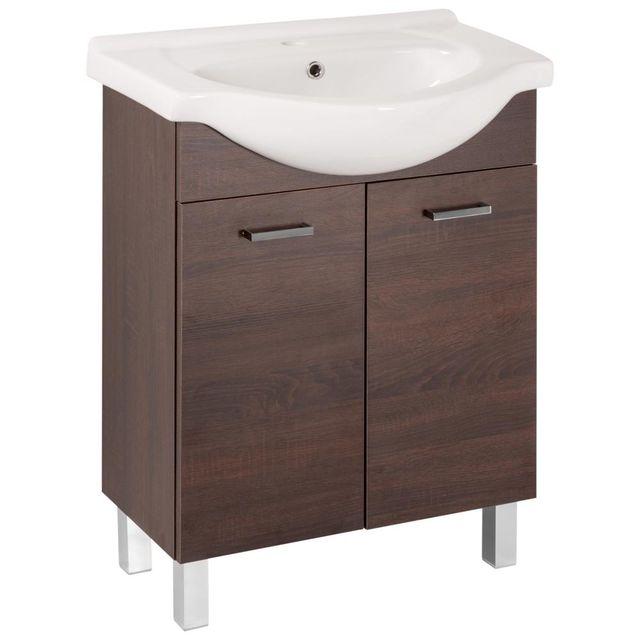 Koupelnová skříňka s umyvadlem Mea D65 2D0S dub chocolate