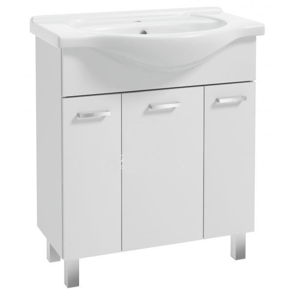 Koupelnová skříňka s umyvadlem Mea D75 3D0S bílý lesk