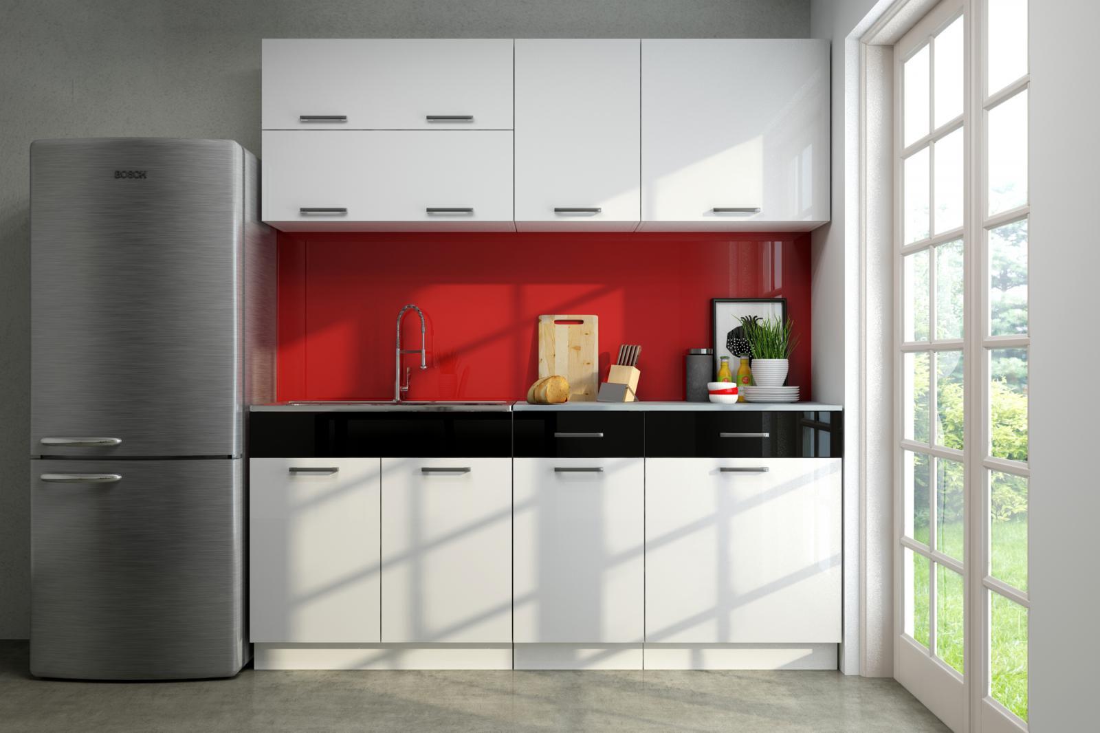 Kuchyňská linka Gigue 180 bílý lesk/černý pruh