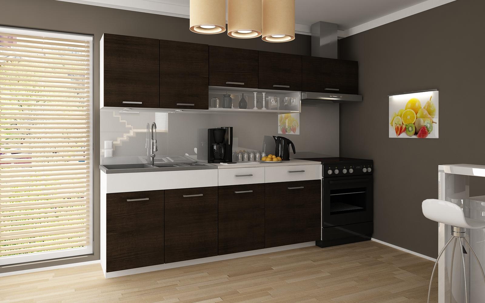 Kuchyňská linka Tatius 180/240 wenge/bílý pruh