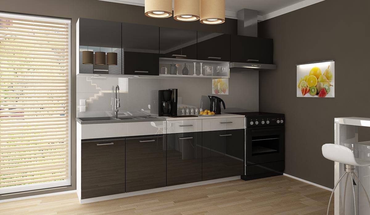 Kuchyňská linka Samara 180/240 černý lesk/bílý pás