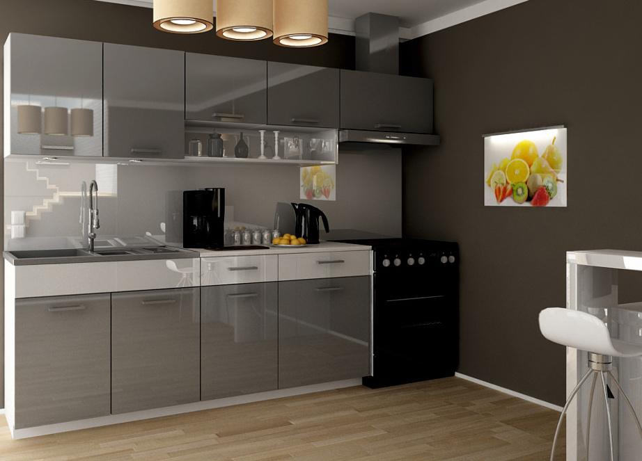 Kuchyňská linka Samara 180/240 šedý lesk/bílý pás