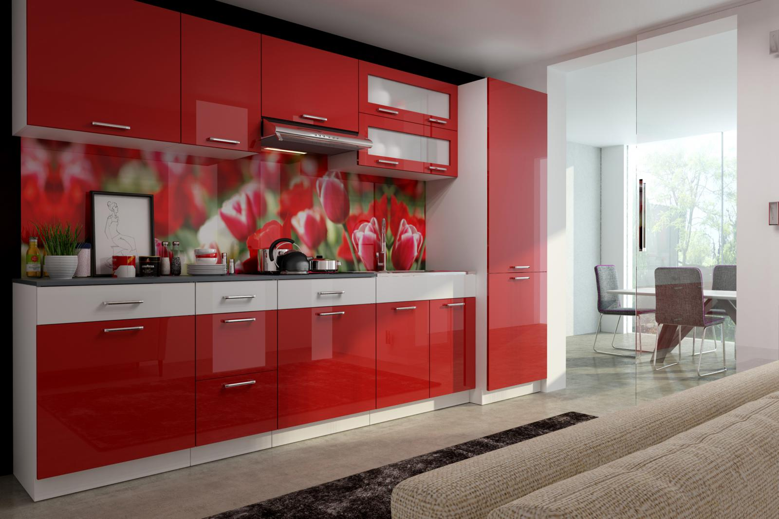 Kuchyňská linka Sanader 300 červený lesk/bílý pruh